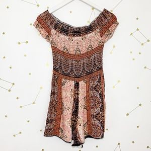L Space • Smocked Off The Shoulder Romper Boho S
